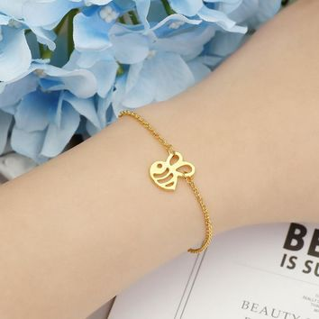 1PCS- Tiny Honey Bee Bracelet Cute Bumble Bee Bracelet Bumblebee Beehive Wasp Bracelets Queen Bee Bracelets For Insect