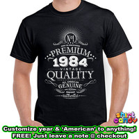 Born 1985 30th Birthday Gift Personalized Vintage T shirt Made With Any Year Cool For Hm Aged To Perfection Whiskey Label Custom Tee DN-B84