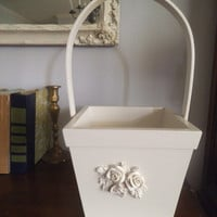 upcycled Shabby Chic White Wooden basket With Roses applique ~ Wedding ~ Cottage Chic
