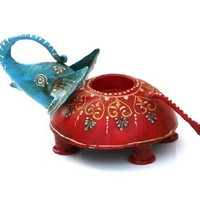 SouvNear Metal Tealight Holder Red-Blue with Hand Painted Patterns - Funny Decorative Candle Holder - Trunk Up Elephant Figurine / Sculpture / Statue - Tabletop / Home Decor Accessories from India