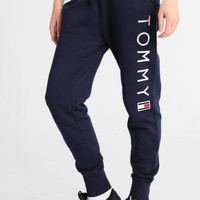 """Tommy Hilfiger"" Popular Women Men Loose Letter Print Gym Sport Running Pants Trousers Sweatpants Trousers Blue I-KWKWM"