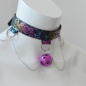 Kitten play collar - Rainbow splatter - ddlg princess adult cute bdsm proof choker with big bell -  black and colorful