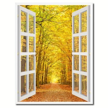 Pathway Autumn Park Yellow Leaves Picture French Window Canvas Print with Frame Gifts Home Decor Wall Art Collection