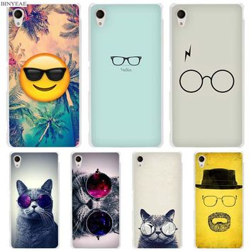 BINYEAE Flat Hipster Glasses Clear Case Cover for Sony Xperia z1 z2 z3 z4 z5 m4 Aqua m5 X XA XA1 XZ E4 E5 Compact C4 C5