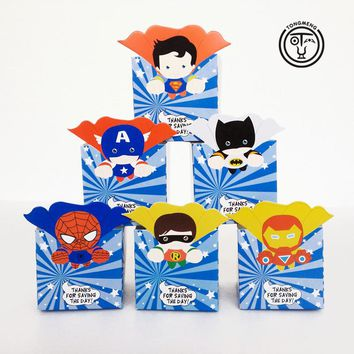 12pcs/lot Superhero Avengers superman batman candy box popcorn box Favor Box Birthday Party Decorations kids Party supplies