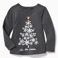 Christmas Graphic Tee for Toddler Girls|old-navy