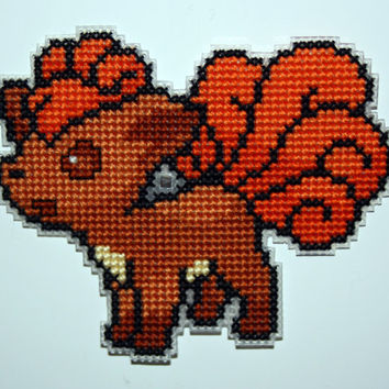 Cross stitch Vulpix Pokemon magnet