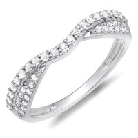 0.36 Carat (ctw) 14K Gold Diamond Ladies Bridal Anniversary Wedding Stackable Band 1/3 CT