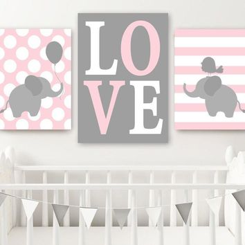 Girl ELEPHANT Nursery Decor, Baby Girl Elephant Wall Art, Pink Gray Nursery Decor, Twin Elephant Nursery Artwork, Canvas or Prints, Set of 3
