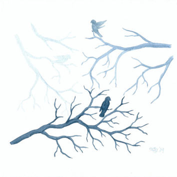 "Original Watercolor Painting, Birds and Branches Wall Art, Blue Nature Art, Teal Nature Home Decor, Bird Art, Tree Branch Art 8"" X 10"""