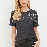 Brushed Knit Bejeweled Tee