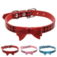 Dog Collar Bling Crystal Bow Leather Pet Collar Puppy Choker Cat Necklace XS S M Collar De Perro #2004