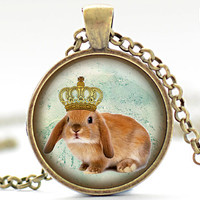 Bunny with Crown Necklace, Rabbit Art Pendant, Bunny Jewelry, Rabbit Charm (611)