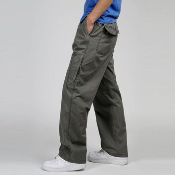 Men Cotton Cargo Loose Pants Spring Elastic Waist Drawstring Thin Pants Plus Size 5XL 6XL Overalls Workwear Trousers With Pocket