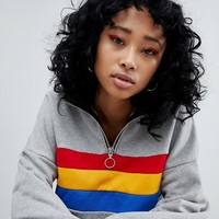 The Ragged Priest Crop Sweat With Half Zip at asos.com