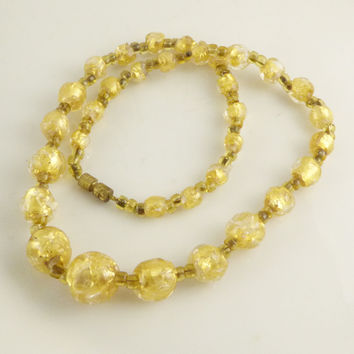 Vintage Art Deco Bohemian Gold Foil Graduated Glass Bead Necklace