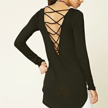 Strappy-Back Dolphin Hem Top