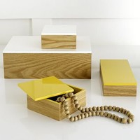 Wood Boxes With Lacquered Lids