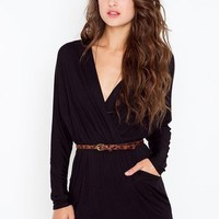 Dolman Wrap Dress - Black in  Clothes at Nasty Gal