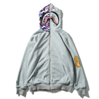 Bape Aape Autumn And Winter Fashion New Shark Letter Print Couple Wear On Both Sides Wear Women Men Camouflage Hooded Long Sleeve Coat Sweater Gray
