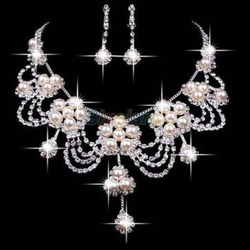 DCCKIX3 Faux Pearl Necklace Earring Jewelry Set For Bride Bridal Wedding = 1929973572