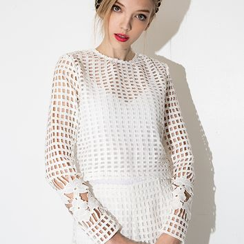 White Floral Crochet Long Sleeve Top