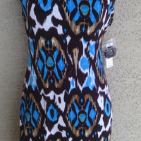 Bisou Bisou dress with tags never worn strapless sexy size 6 short brown blue bold design mod hippie clubwear