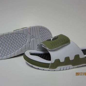 PEAPGE2 Beauty Ticks Nike Jordan Hydro Ix White/green Sandals Slipper Shoes Size Us 7-13