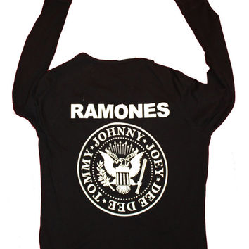 Ramones Hey Ho - Black Cardigan - Long Sleeve - Button up sweater - punk jumper - rock band