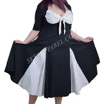 Vintage Rockabilly Black White Polka-dot plus size dress with sleeves
