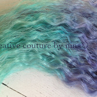 "18"", Ombre Hair,Tie dye Hair, Burning Man, Hair Extensions, Steel Lavender and Icy Blue Green"