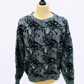 Vintage 1980s Psychedelic Black Grey Grunge Acrylic Knit Jumper Sweater XL