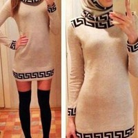 Slash Collar Long Sleeve Printed Bodycon Dress