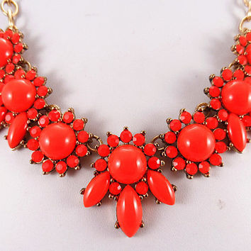 2013 J.crew Style Inspired Orange Flower Necklace ,Statement bubble  daisy Necklace,Bridesmaids Jewelries,Birthday gift3colors available