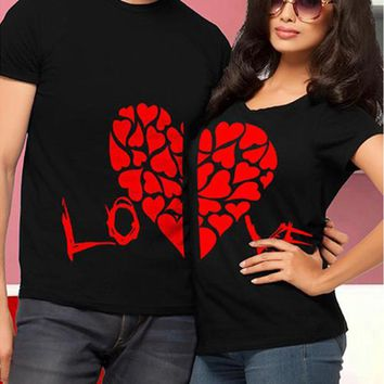 Half Red Heart Love Couple Tees