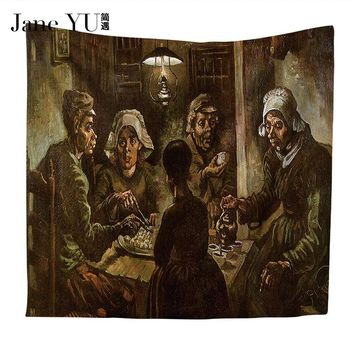 Jane YU oil painting tapestry home decoration tapestries wall hanging carpet comfortable sofa cover picnic mat