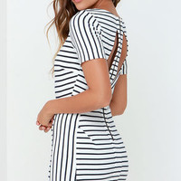 Half Past Swoon Ivory and Navy Blue Striped Dress