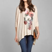 Painted Floral Slouchy Graphic Tee