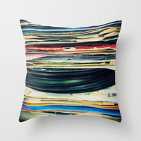 put your records on Throw Pillow by Bianca Green