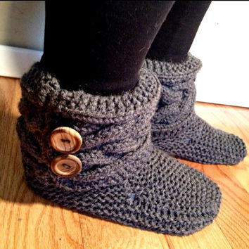 MADE TO ORDER, Hand knit slippers, boot slippers, womens slippers, ladies slippers, wooden button,