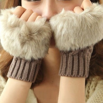 Fashion Fingerless Fur Winter Warm Wrist Knitted Wool Mitten Gloves = 1958142532