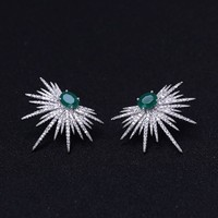 Punk Style Spike Shape Earring Pave Cubic Zirconia brinco Green stone Sparkly Star Galaxy Stud Earrings Clear