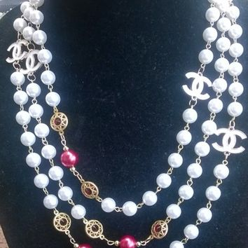 """Outstanding. 70"""" Hollywood Glam Ruby crystal & Pearl Necklace"""