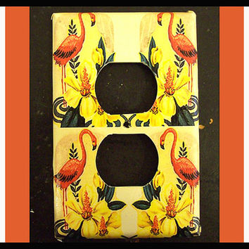 Pink flamingo switch plate retro vintage 1950's Florida kitsch rockabilly light switch