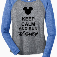 Keep Calm and Run Disney Long Sleeve Microburn Raglan Tee