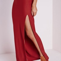 Missguided - Thigh High Split Maxi Skirt Terracotta