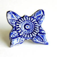 Lace Ceramic Cocktail Ring Oversized Royal Blue Butterfly Pottery Adjustable Silver Ring