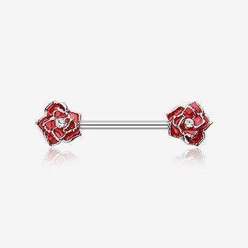 A Pair of Classic Rose Sparkle Nipple Barbell Ring