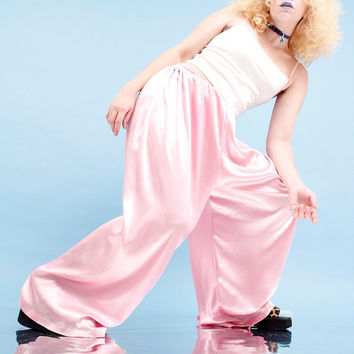 Bubble Gum Pink Silk Pants // 90s, vintage, handmade item