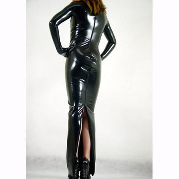 Black PVC Clothing Catsuit Dress - $46.99